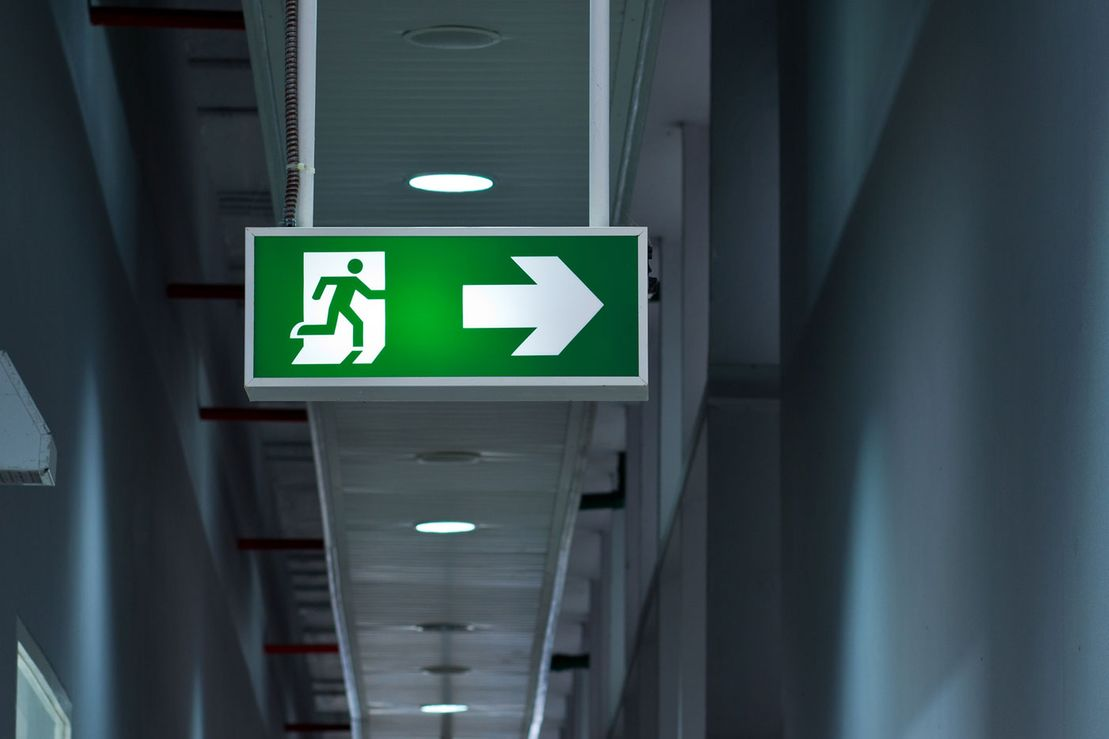 Fire exit sign emergency lighting